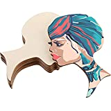 Jetec 8 Pieces African Woman Women Face with Lashes Silhouette Head Log Decoration Pendant Unfinished Wood Laser Cutting Cutout Shape Painting DIY Crafts Door Wall Hanging