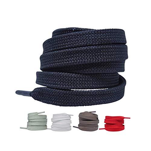 Flache Schnürsenkel [2 Paar] reißfeste Schuhbänder Ersatzschnürsenkel aus Polyester für Sneakers, Sportschuhe, Laufschuhe, Turnschuhe 8-10 mm breit (Schwarz, 90 cm)