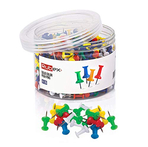 600 Rubex Push Pins, Colorful Push Pins, Assorted Multi Colored Plastic Head, Standard Thumb Tacks with Steel Point, Push Pins for Cork Boards for Walls, Poster Board or Pin Board, 600 Count
