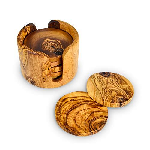 Darido handgefertigte Untersetzer aus Olivenholz Untersetzer aus Holz 6er-Set für Teetassen Kaffeetassen Bierdose Bar Trommeln und Wassergläser (Wiederverwendbare Verpackung) Dekorative Untersetzer