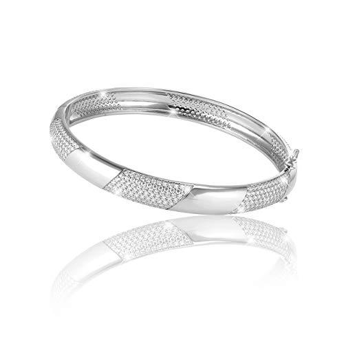 PAVEL´S eleganter Damen Armreif SILVER GLAM LIGHT Armband Armspange verschließbar aus 925 Silber 5A Zirkonia inkl. einer edlen PAVEL'S Schmuckbox