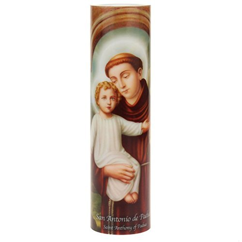 "The Saints Collection PrayerCandle (Saint Anthony) LED Flameless Devotion Prayer Candle, Religious Gift, 6 Hour Timer for More Hours of Enjoyment and Devotion! Dimensions 8.1875"" x 2.375"""