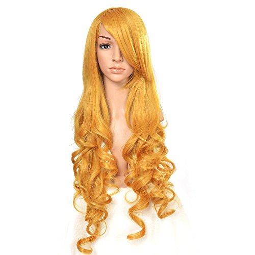 Amurleopard Perruque Cosplay Pour femmes Long Complete boucle ondule Chaleur resistant 80cm couleur aurore