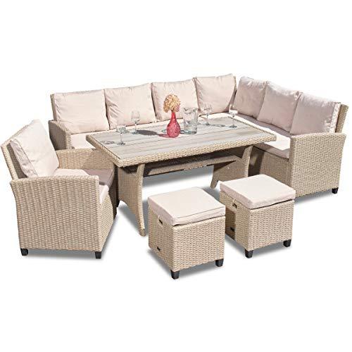 Green Spirit - Garten Sitzgruppe Madeira - Beige, Polyrattan, für 7 Personen, Wetterfest, Gartenmöbel-Set mit Ecksofa, Tisch, Sessel und 2 Hockern