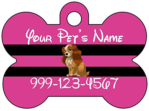 Disney Lady and the Tramp Dog Tag Pet Id Tag Personalized w/ Your Pet's Name & Number