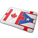 Love girl Canadá Puerto Rico Banderas Rompecabezas Entrada Alfombrilla Baño Piso Hogar Alfombra Antideslizante Oficinas Alfombra Cocina Baño Alfombra Decoración 80x50 cm