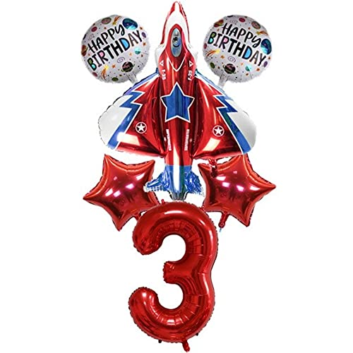 DIWULI, juego de globos de avión grande, globo de avión XXL, globo número 3 rojo, globos de papel de estrella de feliz cumpleaños, 3º cumpleaños infantil, fiesta temática, decoración, avión