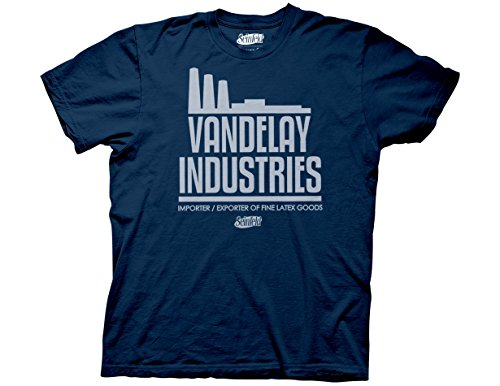 Ripple Junction Seinfeld Adult Unisex Vandelay Industries Heavy Weight 100% Cotton Crew T-Shirt XL Navy