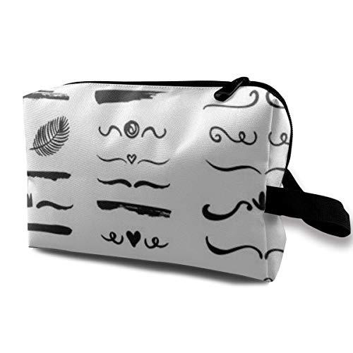 Trousse de Maquillage Pochette cosmétique Supports dessinés à la Main Tourbillons Vont Sac Multifonctionnel Kit de Voyage Sac de Rangement