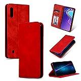 GoodcAcy Hülle Kompatibel mit Samsung Galaxy A10 with[Panzerglas Schutzfolie] Premium Leder Flip Hülle Schutzhülle Handy Lederhülle Tasche Klapphülle für Samsung Galaxy A10 Rot