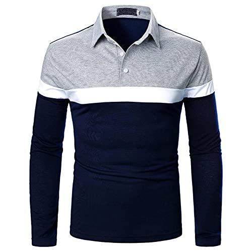 Poloshirt Sweatshirt Herren Langarm Golf T-Shirt Stitching Fashion Design Revers langärmeliges Top Polohemd Freizeit Bluse Tee Sporttop Oberteil Pulli