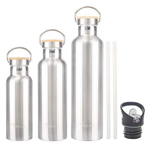 J.A.N-GreenLife Edelstahl Trinkflasche | Isolierte Thermosflasche für heiße und kalte Getränke | Trinkflasche Edelstahl 1L (1000ml) | Auslaufsicher | Für Kinder und Erwachsene | Spülmaschinenfest.
