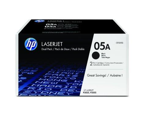 HP 05A Original Toner (geeignet für HP LaserJet P2035, HP LaserJet P2055) 2er Pack, schwarz