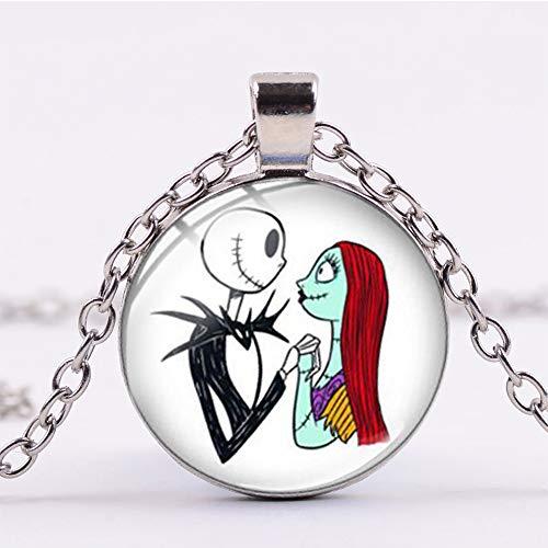 Guapo Jack Skellington y Sally Print Collar Pesadilla Antes de Navidad Colgante...