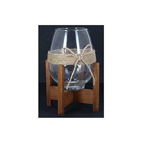 Kontarbo - Jarrón de cristal decorativo sobre su base de madera con un bonito lazo de cuerda.