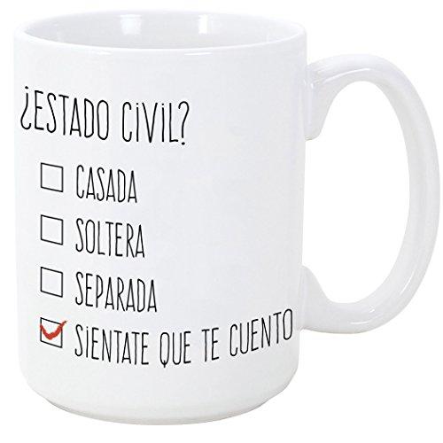 MUGFFINS Tazas Desayuno Originales y Divertidas - ¿Estado Civil? - 350 ml - Tazas con Frases de Humor sarcástico