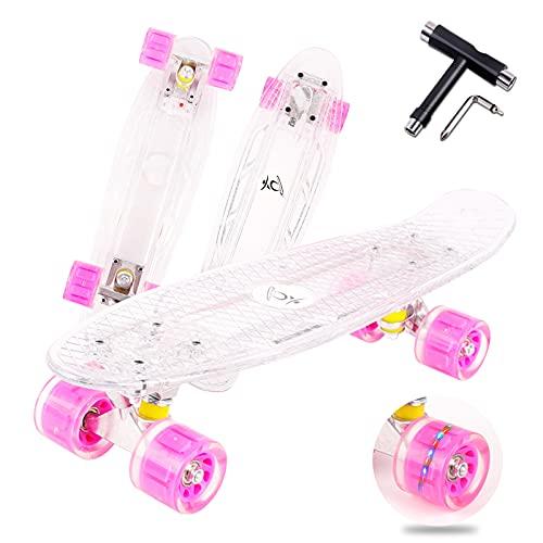 """colmanda Mini Cruiser Skate, 22\"""" 55 cm Skateboard Complete Mini Cruiser Mini Crystal Komplettboard mit LED Leuchtrollen und Deck, Skateboard Komplettboard mit T-Tool, für Kinder, Jugendliche - Red"""