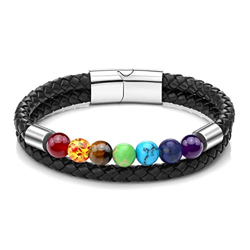 Zysta Double Wrap Handmade Tiger Eye Chakra Healing Beaded Bracelet Yoga Aromatherapy Essential Oil Diffuser Braided Leather Bracelets with Magnetic Clasp