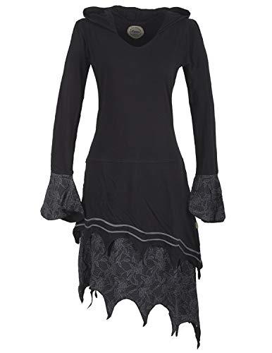 Vishes - Alternative Bekleidung - Zipfeliges Lagenlook Design Elfenkleid Zipfelkapuze Spitze Bedruckt schwarz 38