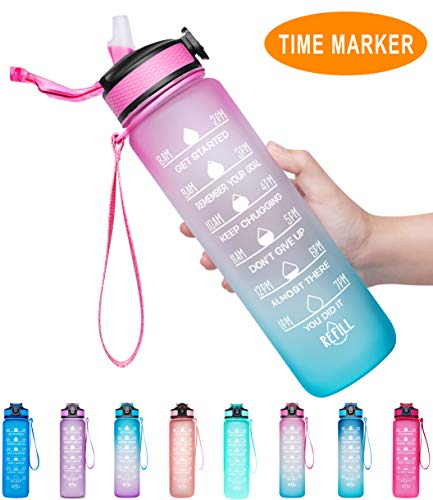 Giotto 32oz Large Leakproof BPA Free Drinking Water Bottle with Time Marker & Straw to Ensure You...