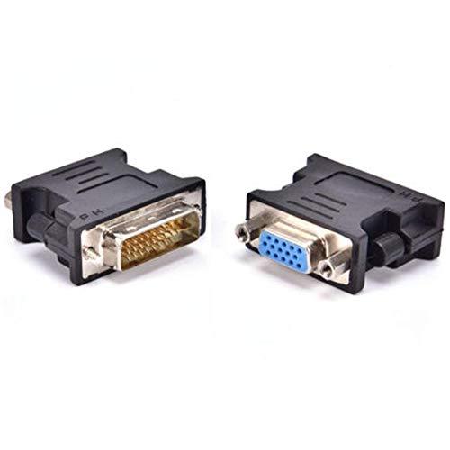DVI zu VGA Adapter DVI (24+5) auf VGA Stecker auf Buchse Interface Grafikkarte zu Monitor schwarz