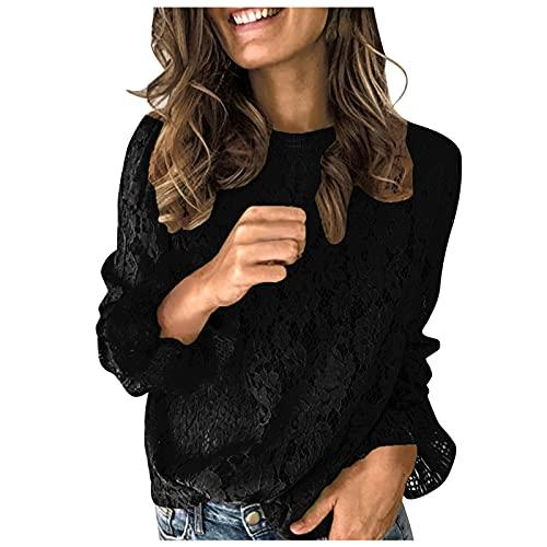 Tops voor dames, blouses dames, mode dames sexy solide lange mouwen flare mouwen holle O-hals kanten blouse tops, dameskleding, damestops modern, zwart, S