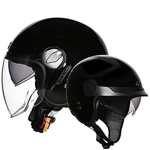 ZHEN Jet-helm, bromfietshelm, chopper, retro cruiser vintage pilot fietshelm · ECE-vizier snelsluiting