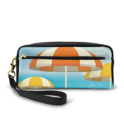 Pencil Case Pen Bag Pouch Stationary,Umbrellas on The Coast Summer Season Theme with Plane Birds and Fish Seaside Vacation,Small Makeup Bag Coin Purse