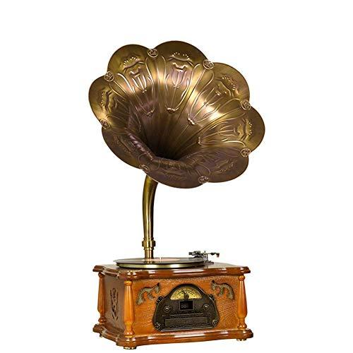 Kiyte Tocadiscos Retro con Cobre de Hornos, Platos para Discos de Vinilo con 3-Velocidad de Radio FM Bluetooth/USB/Grabación de MP3, Regalo Decoración de La Navidad,Brown