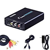 3RCA AV CVBS Composite & S-Video R/L Audio to HDMI Converter Adapter Support 720P/1080P with 3RCA S-Video Cable for NES SNES N64 PS2 PS3 HDTV (AV-HDMI)