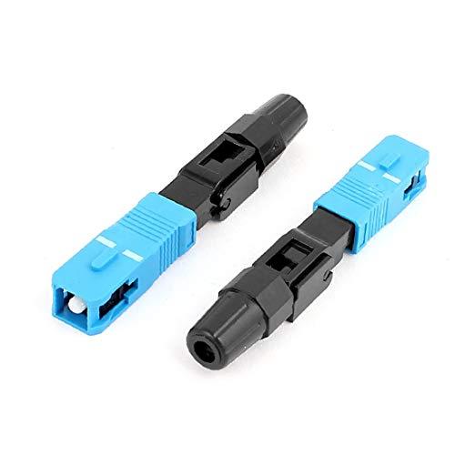 X-DREE 2 pcs FTTH SC/UPC-P SM Cable de fibra óptica Adaptador rápido Conector Azul Negro(Connettore nero dell'adattatore rapido per cavi ottici FTTH SC/UPC-P SM da 2 pezzi