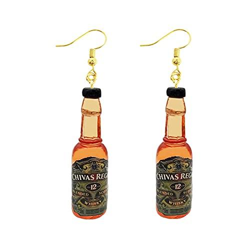 HEMOTONE Ohrring für Frauen Harz Drop Custom Made Handgemachte niedliche Mädchen Geschenk Earrop Kaffeegetränk Lustige Alkohol-Spirituosen Flaschendosen (Metal Color : 22)