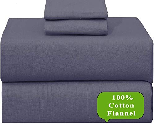 Ruvanti 100% Cotton 4 Piece Flannel Sheets King-Deep Pocket-All Seasons-Warm-Super Soft-Grey/Gray-Breathable & Moisture Wicking Flannel Bed Sheet Set King Include Flat, Fitted Sheet & 2 Pillowcases