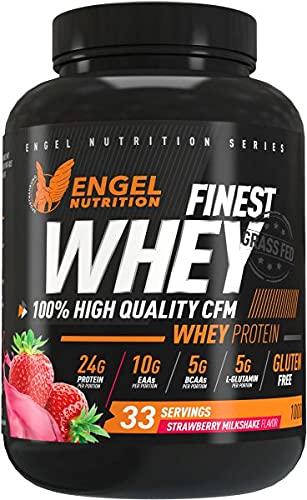 Engel Nutrition Finest Whey Protein Pulver | 100{869b31a0c8d1f4efcb2ea3d08dbf9d112d633c01e10234c9696312e588527957} CFM Whey Protein aus Weidemilch | Eiweißpulver mit extra Aminosäuren, Enzymen & Probiotika |Über 24g Protein, nur 0,5g Fett (Erdbeere, 1kg)