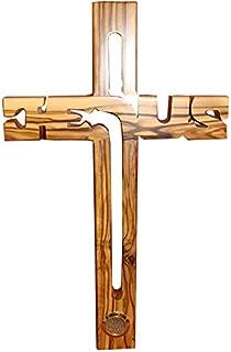 Zuluf Large Christian Jesus Handmade Wooden Cross with Soil Bethlehem - 30cm CRS004