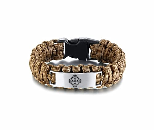 Men Celtic Cross Bracelet, Stainless Steel Survival Paracord Catholic Christian Irish Cross Knots Cuff Bangle Wristband for Men, Religious Christianity Celtics Jewelry for Him, 9 Inches, Brown