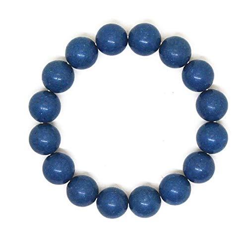 Coral azul teñido natural 12 mm Forma redonda Pulsera elástica de 7 pulgadas con cuentas lisas para hombre / mujer. Regalos para él / ella.