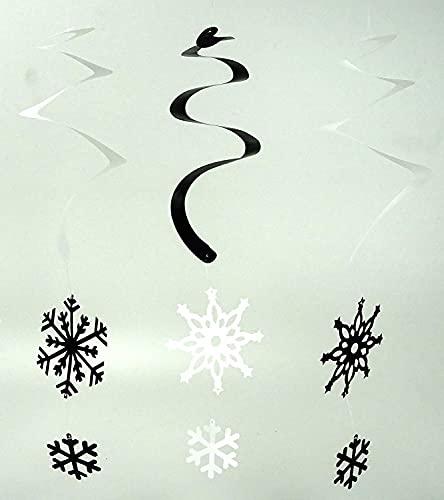 Toyland® - Tourbillons Suspendus en Forme de Flocon de Neige - Décorations de Noël (Argent et Blanc, Pack de 12)