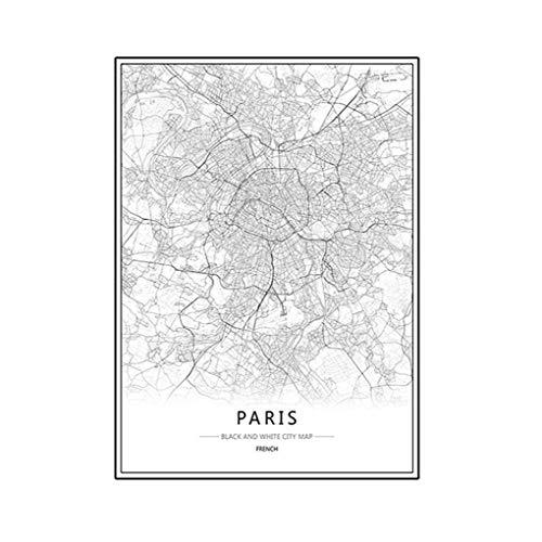 Yangge Yujum London New York Paris Leinwand Wandmalerei Weltstadtkarte Plakat Schwarz Weiß abstraktes Öl Bild Unframed Öl Zeichnung