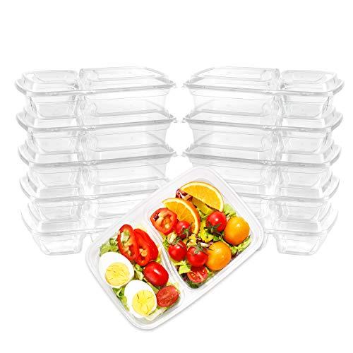 Supernal 50パック 食事準備容器 (28オンス) クリアプラスチック弁当箱 2コンパートメント蓋付き クリア長方形 再利用可能な収納ランチボックス 電子レンジ/食器洗い機/冷凍庫対応