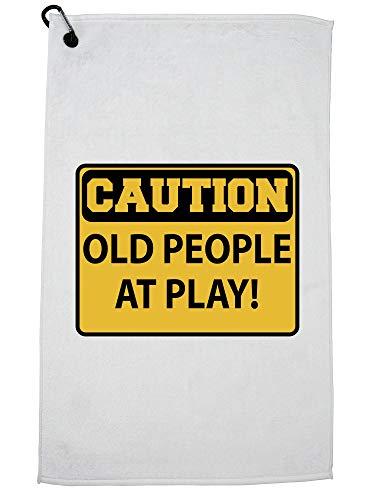 Hollywood Thread Let op! Oude mensen in het spel - waarschuwing teken golfhanddoek met karabijnhaak clip