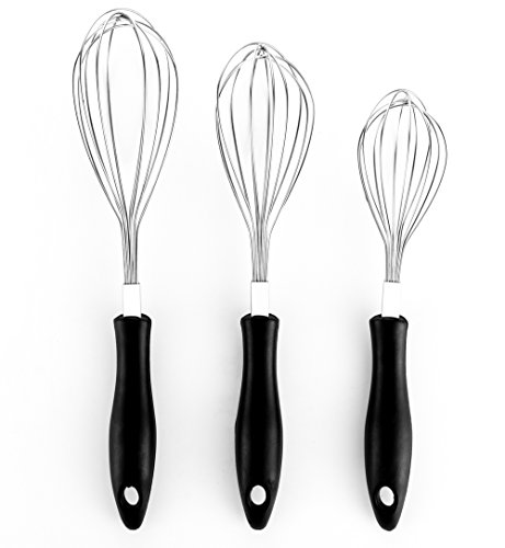 Bekith Good Grips Stainless Steel Balloon Whisk, Egg Frother, Milk & Egg Beater Blender, Set of 3