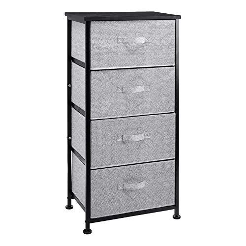 Amazon Basics - Cassettiera, per l'armadio, 4 cassetti in tessuto, colore: nero