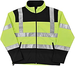 5d66693dc51290 ERB 62204 W650 Class 2 Soft Shell Men's Jacket, Hi Viz Black/Lime,