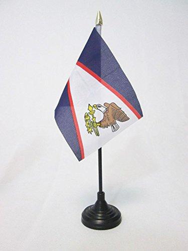 AZ FLAG Bandera de Mesa de Samoa Americana 15x10cm - BANDERINA de DESPACHO SAMOANA 10 x 15 cm Punta Dorada
