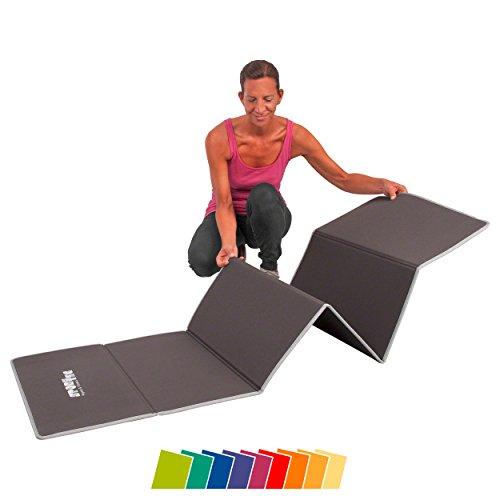 Gymnastikmatte, Faltbare Klappmatte, extra weiche Sportmatte, Workoutmatte mit Tragegurt, LxBxH 180x60x0,7 cm, grau