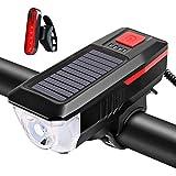 Faro solar con altavoz, USB Solar faro trasero Combo Set, IPX6 impermeable 5 modos de ciclismo linterna linterna antorcha con luz trasera recargable USB, negro