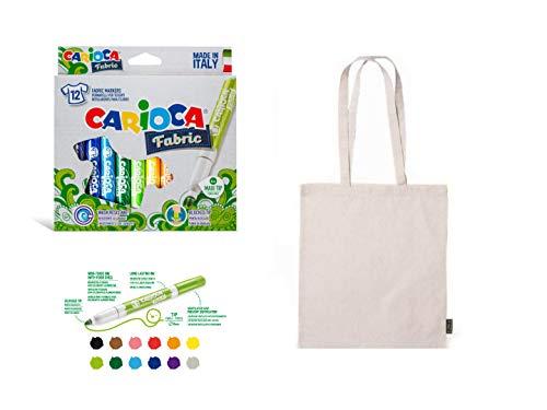 12 rotuladores para tela textiles tejido permanente punta gruesa Incluye bolsa tela para pintar de algodón Carioca Fabric regalo fiestas y cumpleaños