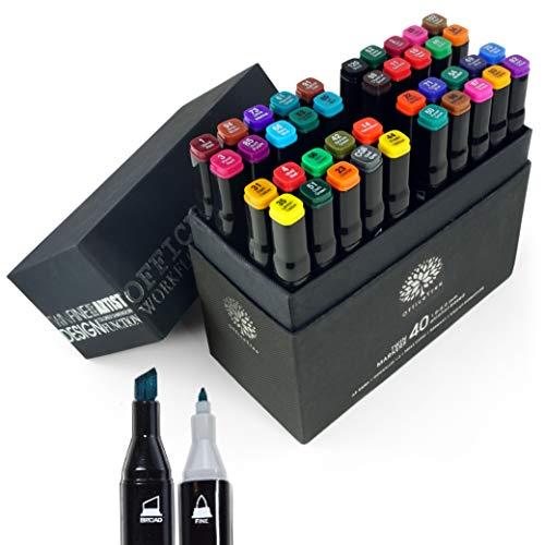 OfficeTree Set Twin Marker Duo-Fasermaler - Grafiti Stifte in Weiche und Intensive Farben zum Skizzieren Layouten Illustrieren Zeichnen Malen (40 Stück, Intensive Farben)