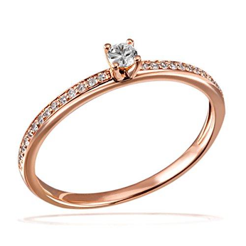 Goldmaid Damen-Ring Verlobung 585 Rotgold Diamant (0.18 ct) weiß Brillantschliff Gr. 56 (17.8)-Pa R7437RG56 Verlobungsring Diamantring